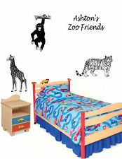 3 Zoo animals with personalized name Vinyl Wall Decal Sticky Decor Letters