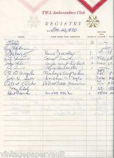 1970 NEW YORK YANKEE TONY KUBEK SIGNED GUEST REGISTER / NBC SPORTSCASTER