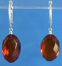 Faceted Honey Baltic Amber .925 Sterling Silver Drop Earrings