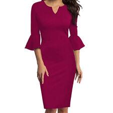 Women V-Neck Flounce Bell Sleeve Office Work Casual Slim Fit Pencil Mini Dress