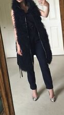Escada Black Leather Gilet Real Fur Jacket Coat Lamb Fur Size 8
