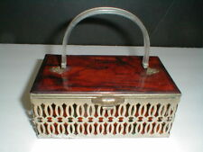 Pamart Brookyln NY LUCITE METAL CUTWORK Tortoise Shell Box Purse Handbag 1950s