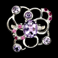 Unheated Oval Purple Amethyst Ruby 925 Sterling Silver Ring Size 7