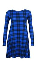 New Womens Ladies Tartan / Print Long Sleeve Swing Skater Dress
