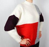 Ladies Warm Winter Jumper Pullover Patchwork Sweater Size 8 10 12 14 16 18 20