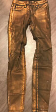 BEBE Women's Bronze Gold Metallic 'Skinny Ankle' Jeans Sz 26 NEW
