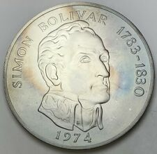 1974 PANAMA 20 BALBOAS SILVER ROUND BU UNC TONED #5
