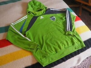ADIDAS Seattle Sounders FC MLS Green Gray Mens M Hoodie Sweatshirt EUC