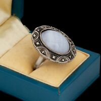 Antique Vintage Deco Sterling Silver Lace Agate Marcasite Band Ring Sz 7.75 8.9g
