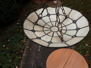 Cream Tiffany Style Hanging Pendant Stained Glass Ceiling Light Shade WITH CHAIN