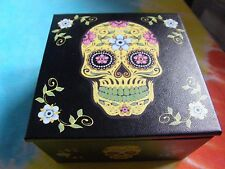 Day of The Dead Sugar Skull Yellow & Black Jewelry Box
