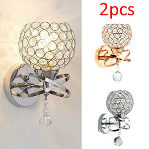 2PCS Chrome Crystal LED Wall Light Lamp Bedroom Living Room Home Decor NEW UK