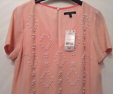 """BNWT """"siguiente"""" Talla 12 Vestido con cuentas de cambio de melocotón Petite Blush (40 EU) nuevo PVP £ 68"""