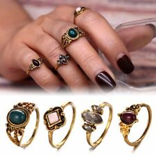 4pcs Silver Punk Vintage Ring Womens Retro stones Finger Rings Set Boho