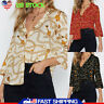 Women Chain Print Shirt Top Chiffon T Shirt Button V Neck Casual Blouse US 6-16