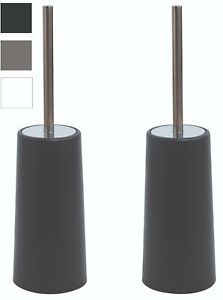 Toilet Brush and Holder Brushes Set Stainless Steel 2 Pack Handle Free Standing