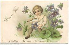 ENFANT . CHILD. FLEURS. FLOWERS. LOUPE. MAGNIFYING GLASS. EMBOSSED. GAUFRé