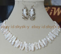Rare Abnormal Shape Natural Biwa White Pearl Necklaces Earrings Jewelry Set AA