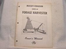 MASSEY FERGUSON MF 60 FORAGE HARVESTER OWNER OPERATOR MANUAL
