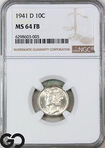 1941-D MS64 Mercury Dime, Full Split Bands, NGC Mint State 64 FSB ** Nice!