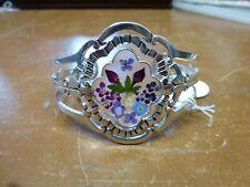 La Plata designs Sterling Silver Mexican bangle cuff genuine flowers BNWT NEW