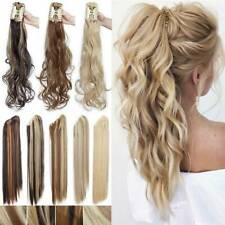 AS Human Ponytail Claw Clip in Thick Fake Hair Extensions Pony Tail Long Curly R