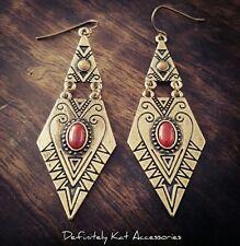 Bohemian vintage gold & red stone tribal pattern dangling diamond hook earrings