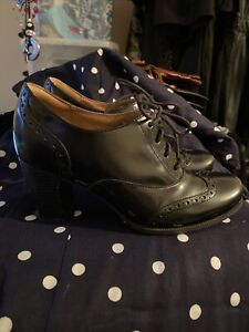 """Womens Size 4 Black Real Leather Shoes, Brogue Style, 3"""" Heel, Clarks Brand"""