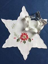 Stern-Teelichthalter aus Glas und Mini-Weihnachtsdeckchen, Set