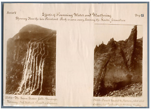 Effects of Running Water and Waterhering  Vintage print. 2 photos 7 x 10 cm. Nor