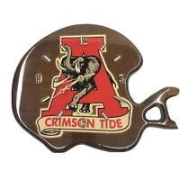 Crimson Tide RTR Alabama Football Elephant Wooden Handmade Wall Clock Helmet VTG