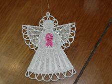 Embroidered Ornament - Christmas - Breast Cancer Angel - Pink Ribbon