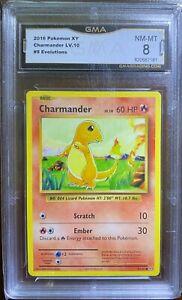2016 Charmander Pokemon Card TCG XY - Evolutions 9/108 LV.10 GMA 8 NM-MT GRADED