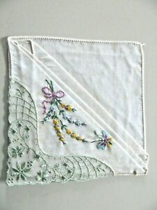 """ANTIQUE/VINTAGE HAND EMBROIDERED HANDKERCHIEF- 11"""" X 11""""-BUTTERFLY, GREEN LACE"""