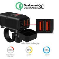 Wasserdicht Dual USB 12V Motorrad Lenker Ladegerät Steckdose Schalter Halterung