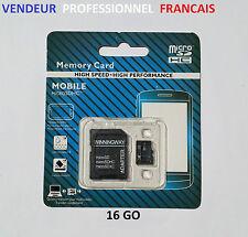 Carte mémoire micro SD SDHC 16Go Gb classe 10 + Adaptateur + suivi colis