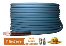 "Pressure Washer Parts 100 ft 3/8"" Blue Non-Marking 4000psi Pressure Hose Free QC"