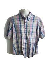MacCluernShort Sleeve Button Down Mens Shirt Size Large L Plaid Multicolor