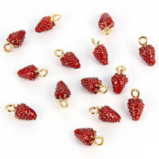 10Pcs Red Strawberry Enamel Charm Pendant DIY Korean Bracelet Earrings Jewelry