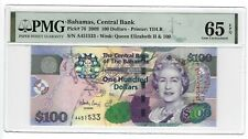 P-76 2009 100 Dollars, Bahamas Central Bank, PMG 65EPQ Nice!