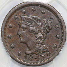 1847 1c Braided Hair Large Cent PCGS XF 45