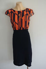 MNG Mango Navy Coral Aztec Print Dress 12