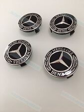 MERCEDES BLACK .ALLOY WHEEL CENTRE CAPS A B C E CLASS CLA CLS ML SLK AMG 75MM