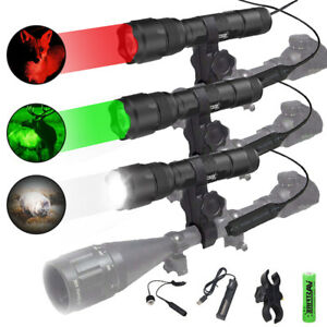Green Red LED Coyote Hunting Flashlight Weapon Gun Light Scope Mount Air Rifle