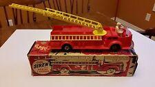 Vintage Marx Aerial Ladder Fire Truck Friction Motor Plastic Toy & Original Box