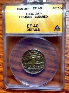 1936 Lebanon 25 Piastres, ANACS EF-40, لبنان