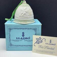 Lladro bell porcelain ornament figurine spain coa Christmas nao 1988 santa sled