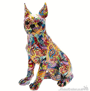 Large 32cm GROOVY ART colourful Boston Terrier ornament figurine Dog lover gift