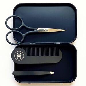 Blue De Chanel mini Eyebrow Tweezers Scissors Comb Set Rare in Metal Box
