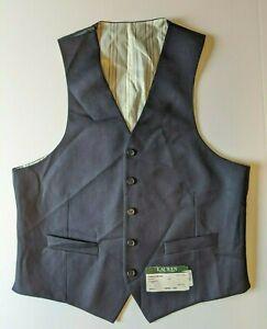 Lauren Ralph Lauren 100% Stretch Wool Navy Vest Mens 39R 39 $125